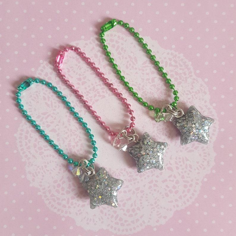 Holographic Resin Star Charms With Swarovski Crystal Beads image 0