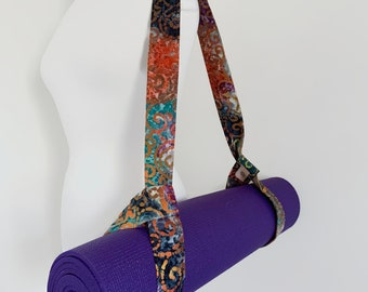 Yoga Mat Carry Strap - Yoga Mat Bag - Best Friend Gift - Cascade Scroll Batik