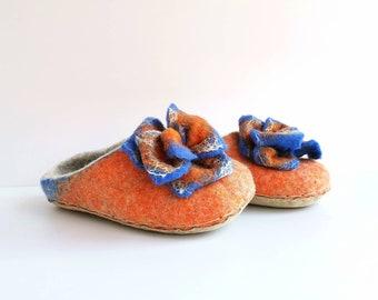 Women orange, blue, grey felted wool slippers with flower on top