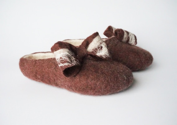 slippers felt clogs home wool felted felted clogs Women bow felted shoes with slippers felt slippers felted womens slippers wool tie brown UwwqPRg