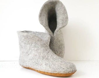 Grey organic wool and alpaca hand felted slippers, high top booties Womens sizes