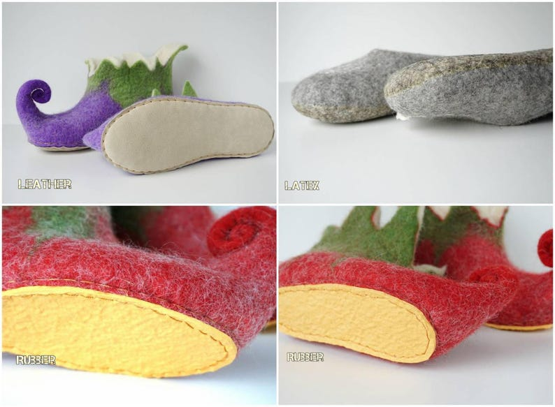 Yellow booties felt house shoes Orange Elf slippers for kids felted slippers Felted wool slippers Elf shoes boiled home shoes