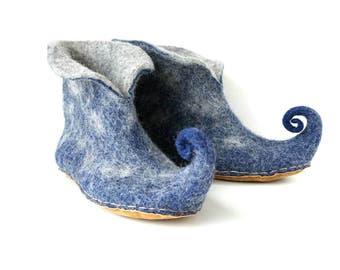 """Felted wool slippers-""""Elves"""" felt slippers-blue grey booties-felt house shoes-men felt slippers-women felt slippers-Valentine day gift"""