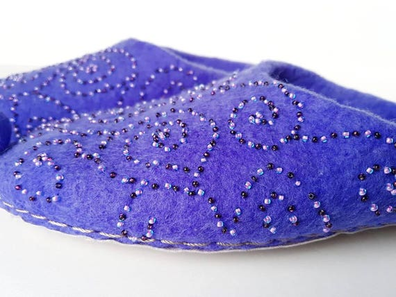 collection handmade Alladin slippers Nights wool New Arabian purple beaded wool Felted Merino slippers slippers slippers axqF887w