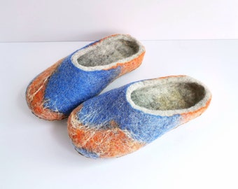Felted slippers, backless wool slippers, house shoes, felt slippers, handmade wool shoe, women men slippers grey blue orange
