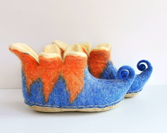 Felted organic wool orange, cornflower blue Elf slippers, gnome booties, house shoes