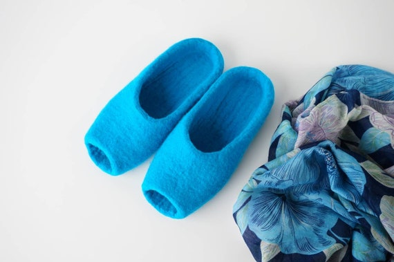 shoes clogs home felt woolen felted wool slippers slippers merino house Blue shoes felted handmade backless wool slippers clogs wTxHBRn8q