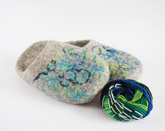 Backless wool slippers-felted wool slippers-felt wool slippers-felted house shoes-grey wool slippers-felted wool clogs-grey blue green