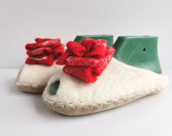 White felted wool open toe slippers with Red rose, boiled home shoes