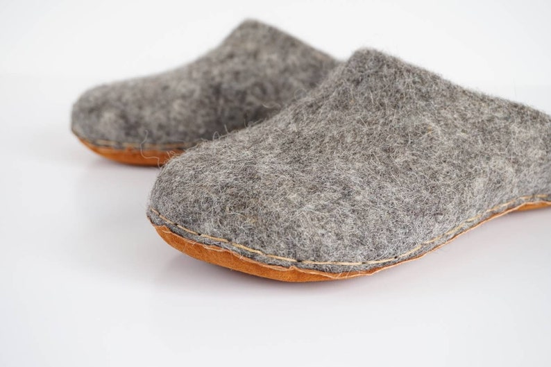 bcca0bc6ed289 Backless grey felted wool slippers, felted house shoes, grey wool slip-on  slippers