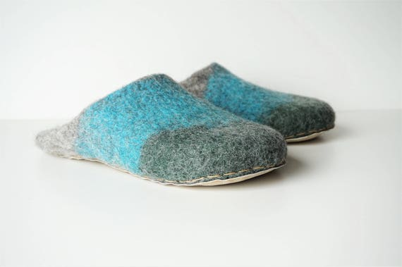 wool house felt natural felted slippers slip slippers slippers felt grey shoes slipper on Backless wool green wool grey blue slippers XAqvvw