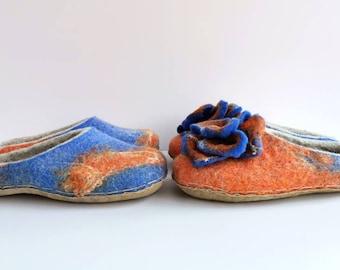 Felted grey cornflower blue orange slippers family set for a couple, felt wool slippers clogs