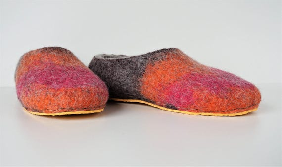 chaussons caoutchouc marron magenta gris semelles feutre laine orange pantoufles avec Chaussons pantoufles pour de femmes hommes feutre de de de en en XqBUnx