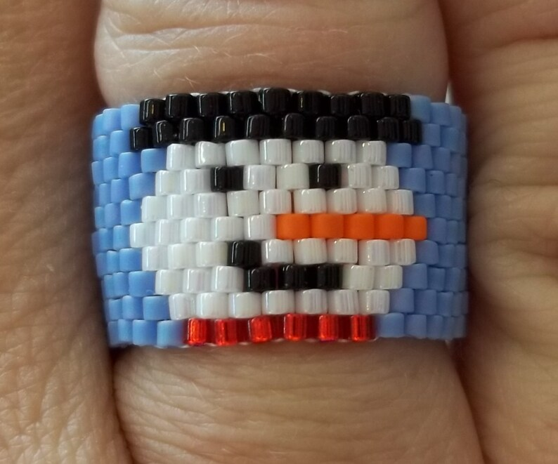 PDF Smiling Snowman Ring Peyote Stitch Bead Weaving Tutorial image 0