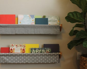 Book Sling - Grey and White Wall Organizer - Choose your size