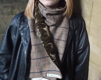 Pure Wool Tweed Scarf Lined with Velvet. Striped Tweed. Fawn Green Blue. Green Crushed Velvet. Men's or Women's.