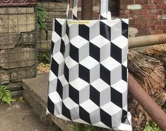 Oilcloth Tote Bag. Shopper. Waterproof. PVC. Escher. Cube Print. Monochrome. Black White Grey. Large Bag.