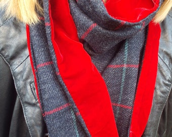 Pure Wool Tweed Scarf Lined with Velvet. Blue Diagonal Stripe. red & Pale Blue Over Check. Vibrant Red Velvet. Men's or Women's.