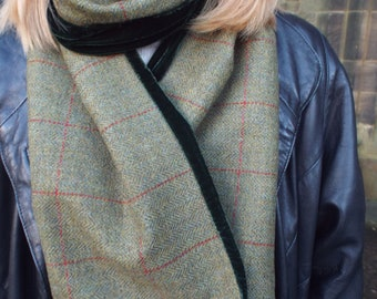 Pure Wool Tweed Scarf Lined with Velvet. Green Herringbone Tweed. Rust Red Over Check. Green or Red Velvet. Men's or Women's.