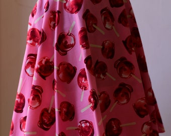 Full Circle Skirt. 50's Glamour Puss Style. Candy Apple, Watermelon or Dice Print Fabrics. Size 8-18.