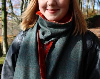Pure Wool Tweed Scarf Lined with Velvet. Blue/Green Herringbone. Orange & Blue Over Check. Orange Velvet. Super Stylish. Men's or Women's.