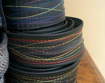 """Upcycled Inner Tube D-Ring Belt. Bright or Subtle Colours of Stitching. 40"""" Long or Various Lengths & Widths to Order"""