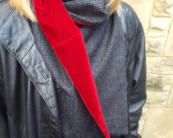 Wool Tweed and Velvet Scarf. Black and Grey Houndstooth Check Tweed, 100% Wool & Bright Red Velvet Lining. Dog Tooth Check