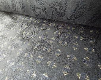 Italian Silk. Navy Blue. Ralph Lauren. Patterned. On Roll or by Metre. Medium Weight.