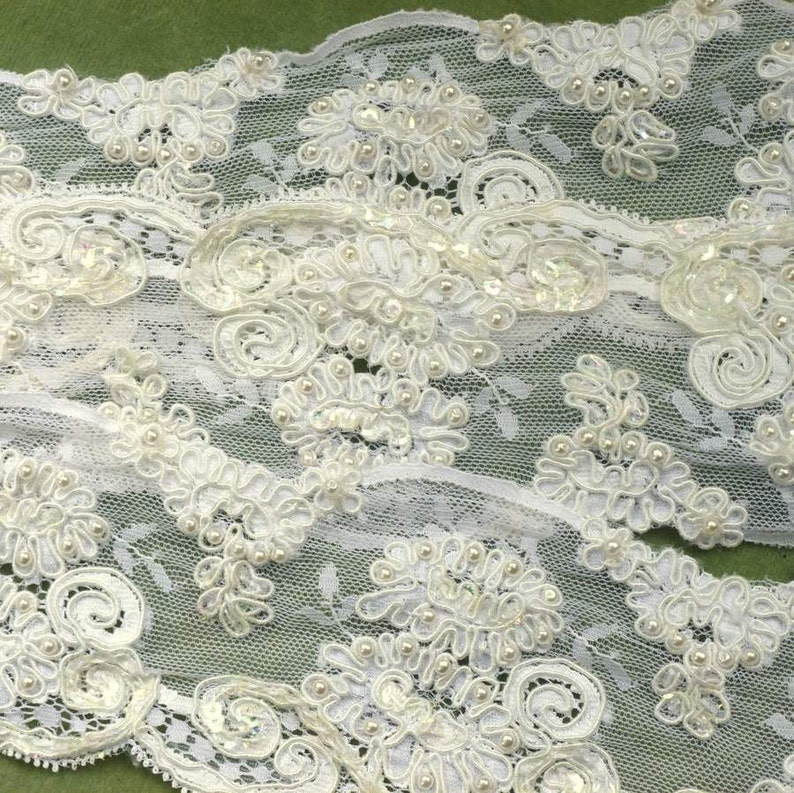 Vintage Embroidered Lace Pearls Scallops Floral Yardage image 0