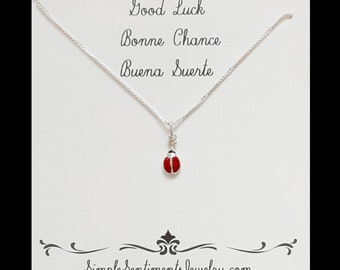 Sterling Silver LadyBug Necklace with Good Luck Message Card