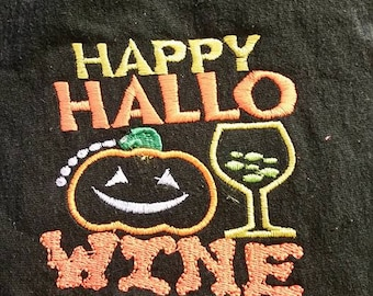 Hallo-wine-Halloween-Wine-Embroidered Sweatshirt or t-shirt-Custom Personalized Gift