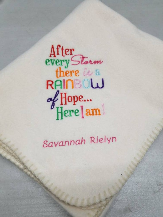 After every Storm comes a beautiful Rainbow Quality Fleece baby blanket colours
