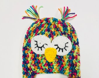 Crochet Rainbow Owl Hat/Baby, Toddler, Child - Made To Order - Great For Photos or Everyday Fun