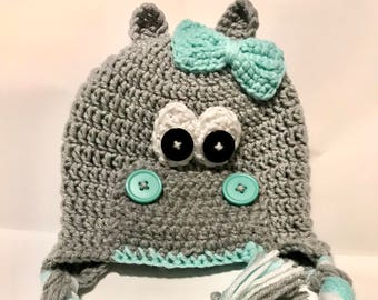 Crochet Hippo Hat/Crochet Fiona Hat, Baby, Toddler, Child - Only 3 Left - Great For Photos or Everyday Fun