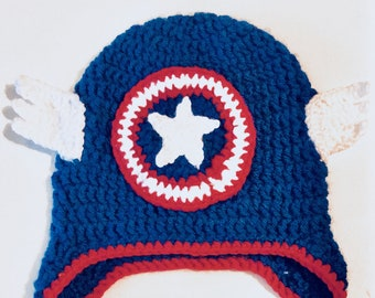 Hero Headwear - Captain America Inspired Crochet Hat/Avengers Inspired Hat/Photography Prop - Baby/Toddler/Child