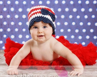 Red, White and Blue Bow Beanie - Patriotic Crochet Hat - Newborn/Baby Photography Prop - 4th of July Baby Girl Hat