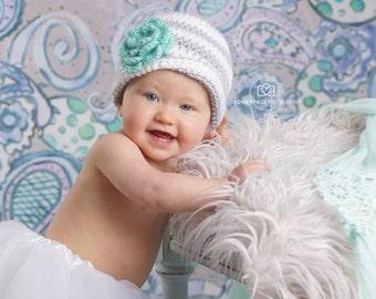Crochet Striped Beanie/Pretty Posey Striped Beanie for Baby/Toddler/Child
