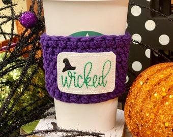 Wicked Brew Crochet Coffee Cozy - Crochet Coffee Cozy with Glitterific Halloween Appliqué