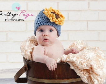 Country Girl Sunflower Hat  - Crochet Shell Stitch Beanie - Great for Photos or Everyday Fashion Flair