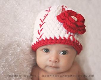 Baseball Beauty Beanie - Baseball-style Crochet Hat - Newborn/Baby Photography Prop/Baby/Toddler/Girl