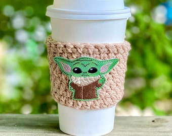 Force Child Coffee Cozy/Crochet Coffee Cozy - Crochet Coffee Cozy with Galactic-ally Glitteriffic Appliqué/ Father's Day Gift