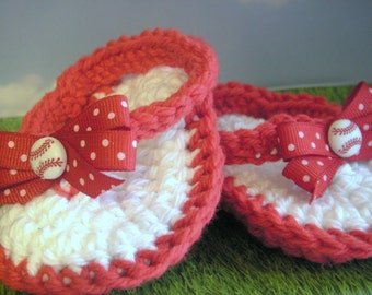 Baseball Beauties - Crochet Baby Thong Sandals in Red and White