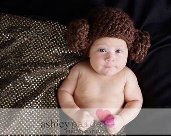Crochet Star Wars-Inspired Leia Hat/ Photo Prop for Babies/Newborn Photo Prop Hat