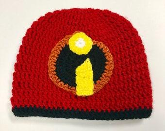 Hero Headwear: Super Hero Beanie/Super Hat/Crochet Incredibles-Inspired Beanie/Newborn/Baby/Child/Preteen/Teen/Adult