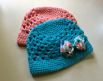 Bow Beanie - Crochet Shell Stitch Beanie with Feather-Patterned Bow - Great for Photos or Everyday Fashion Flair