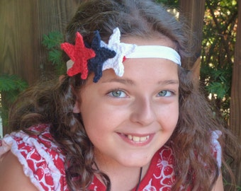 Super Star Headband  - Stretchy Headband with Crochet Star Appliques in Red, White and Blue - Child/Preteen Size