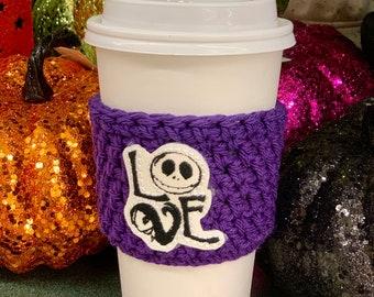 Nightmare Love/Crochet Coffee Cozy - Crochet Coffee Cozy with Jack Skellington Appliqué