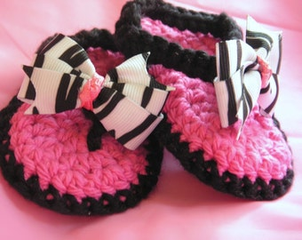 Crochet Baby Thong Sandals in Black and Hot Pink with Zebra Print Bow