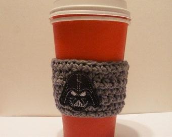Crochet Coffee Cozy - Crochet Coffee Cozy with Felt Darth Vader Applique