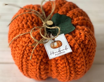 Rustic Farmhouse Pumpkin (single) - Crochet Fall Decor - Autumn Decor